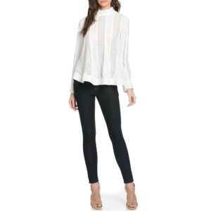 NWT Tov Holy White High Collar Long Sleeve Blouse
